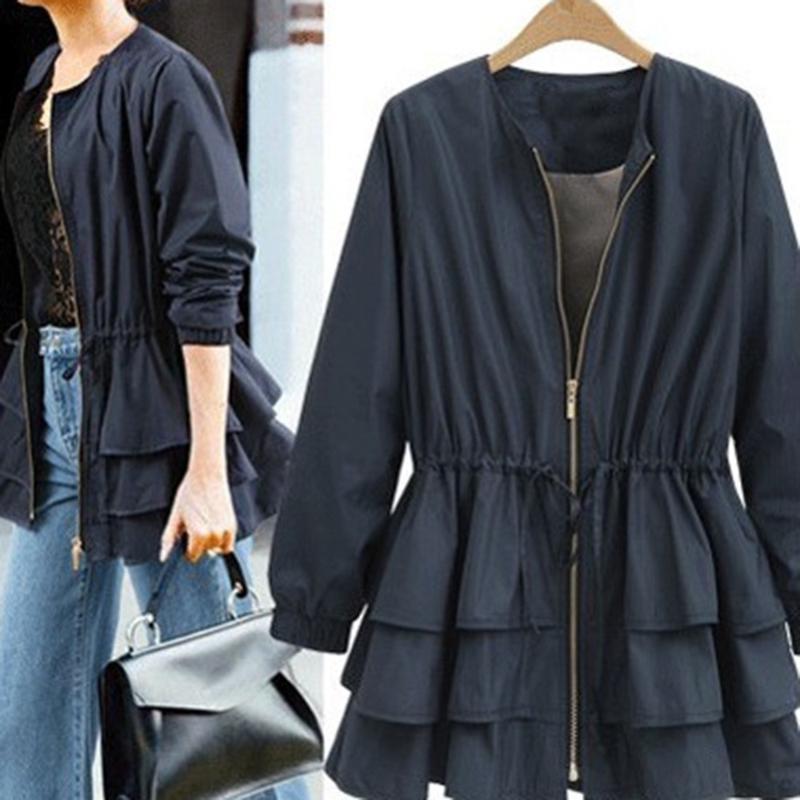 Barra elegante Nuevo otoño cremallera chaquetas de la moda marea de manga larga remiendo de manga larga ruffles suelta tamaño grande mujer impermeable abrigo