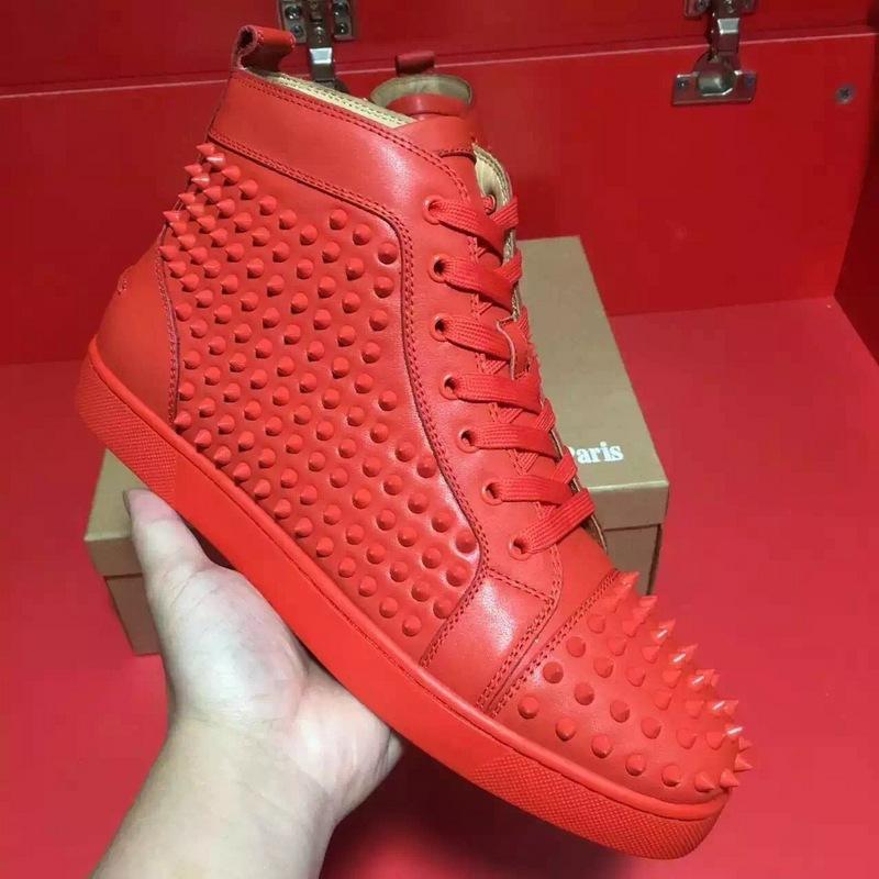 Kutu Dikenler Sneaker Ayakkabı Erkekler Kadınlar Kırmızı Alt Yüksek Top Sneakers Yüksek Kaliteli Gerçek Deri Yürüyüş Flats Açık Eğitmenler Ayakkabı 35-46 ile
