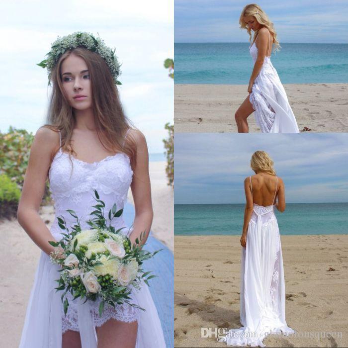 Vestidos de recepción de los vestidos de boda atractivo Apliques banquete de boda de encaje trasero largo corto delantero Una línea de correas espaguetis gasa blanca Alta Baja Beach