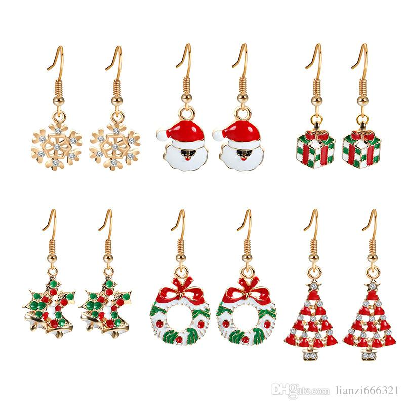 Fashion High Quality Christmas tree snowflake Earring Set Christmas Deer Earring Set Valentine's Day Holiday Gifts 6 Pairs a lot HJ237