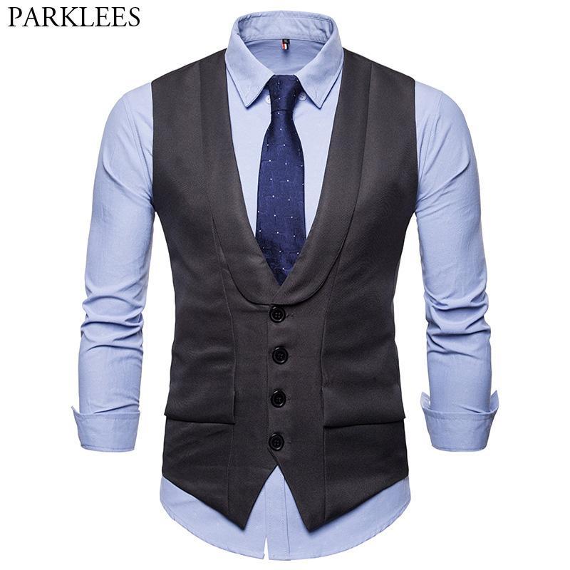 Chaleco de traje de negocios formal para hombre Chaleco sin mangas con botones clásicos 2018 Chalecos de esmoquin de boda Slim Fit para hombre