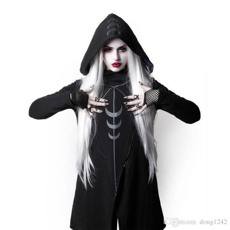 Capa irregular con capucha de las mujeres Punk Goth Cosplay Cyber Steampunk Bruja chaqueta larga