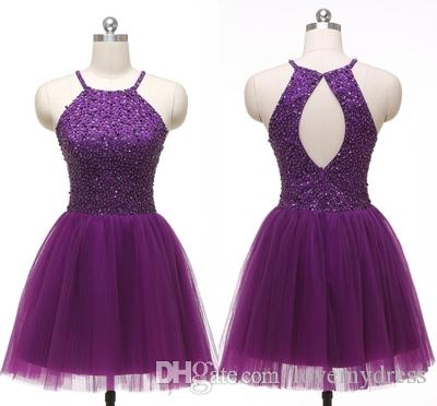 Dark Purple Halter Homecoming Dresses Cheap 2020 Beaded Sequin Crystal Open Back Tulle Draped Short Prom Dress Graduation Dress Party Gowns