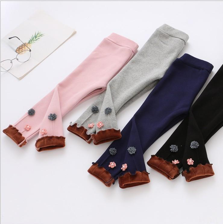 18 Winter New Pattern Girl Plus Cashmere Thickening Flower Hit Underpants Korean Edition Children One Cashmere Small Feet Pants