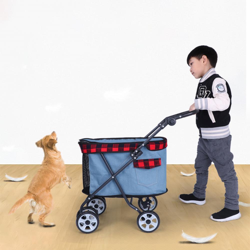 DODOPET 애완 동물 개 유모차 애완 동물 개 접이식 캐리어 산책 고양이 야외 캐리어 카트 네 바퀴 유모차