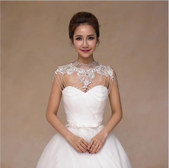 2020 Luxury Beading Rhinstone Lace Bridal Jewelry Shoulder Dresses Wedding Bridal Accessories Dress Shoulder Chain Bride Wraps