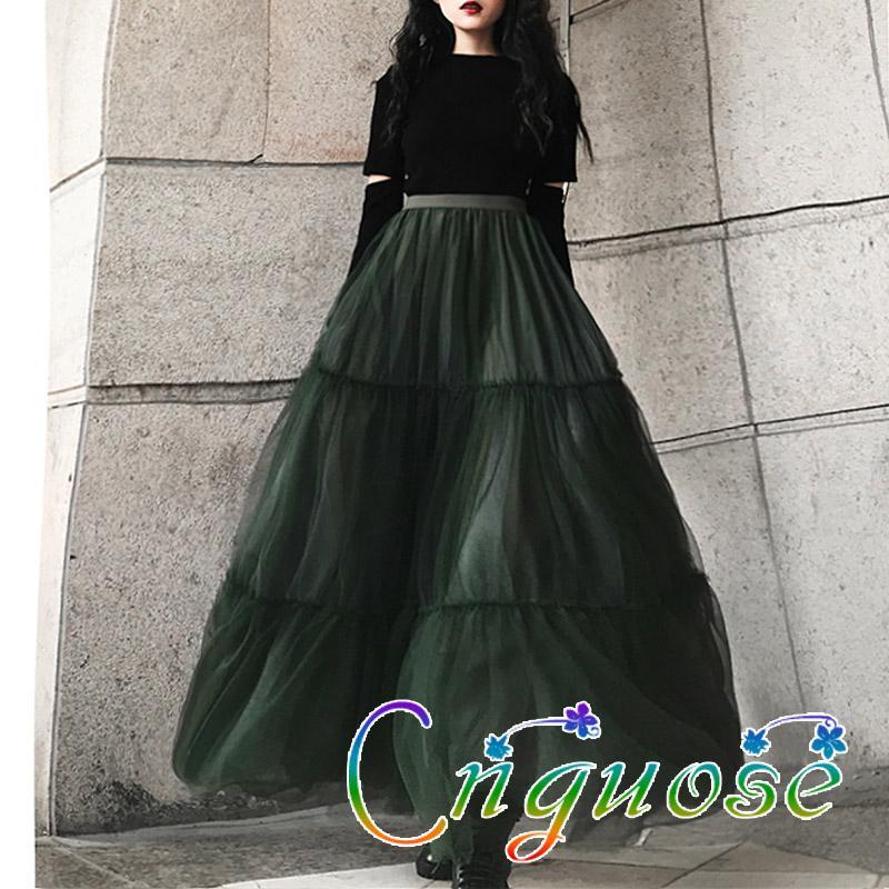 2020 retro femenino de la nueva manera de malla de gasa verde Fluffy Tutu tendencia femenina mujer maxi falda de Midi de las mujeres