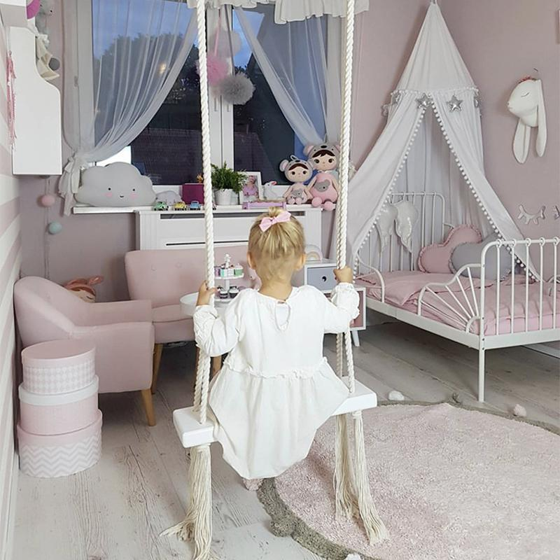 2020 Baby Swing Chair Hanging Swings Set Children Toy Rocking Solid Wood Seat With Cushion Safety Baby Spullen Indoor Baby Room Decor From Faone20 112 67 Dhgate Com
