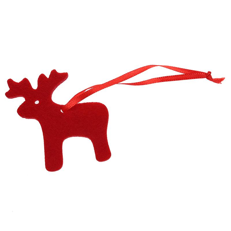 10 pieces Deer Shape Felt Christmas Tree Ornament Decor Hangers Craft Red