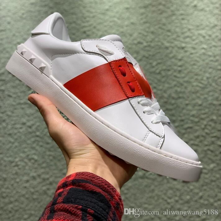 satılık 2019 Toptan rahat ayakkabı tasarımcısı erkekler kadınlar redleather ekleme perçin klasik moda Aşıklar beyaz Gerçek Deri spor ayakkabı ucuz