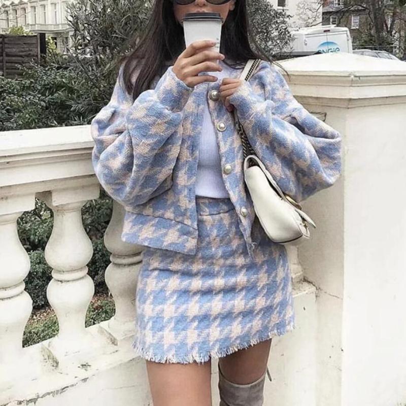 2018 Women Vintage Skirt Sets Winter Ladies Woolen Tweed Jacket+ Short Skirt Suits Elegant Two Pieces Sets T190612