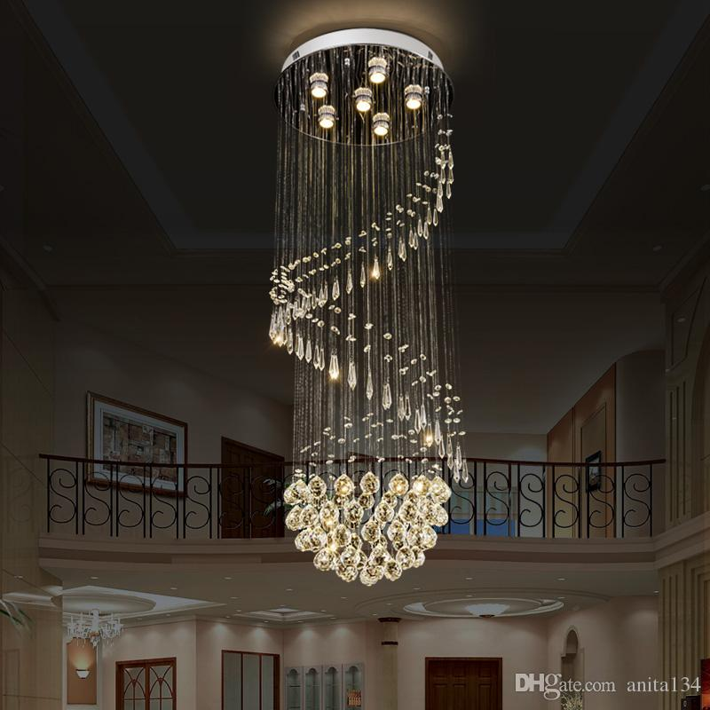 Modern crystal Chandeliers LED Crystal long Staircase Indoor stainless steel K9 crystal lamps Hotel hall Lighting Fixture