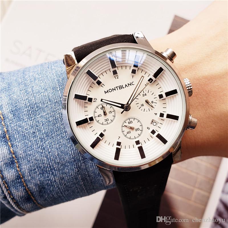 Todos os mostradores de trabalho Relógios de luxo Cronômetro homens do relógio com calendário Leather Strap Top Marca Men couro Correia de pulso