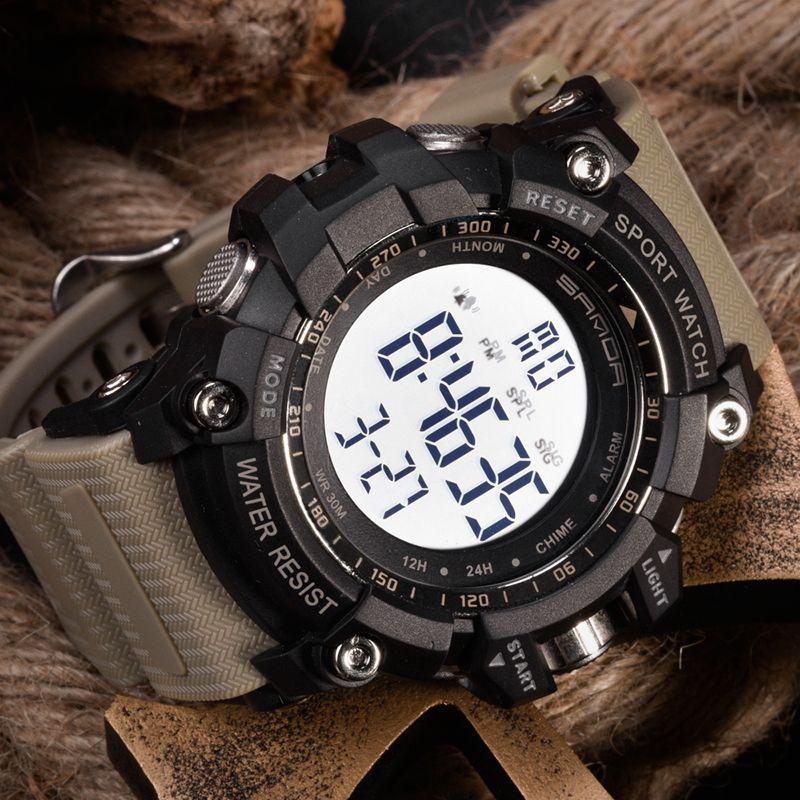 Montre numérique en plein air lumineux GMT Hommes Femmes étudiant 7COULEURS Mode Sport Eau Alarme Résistant Chronomètre Horloge tactique Montres