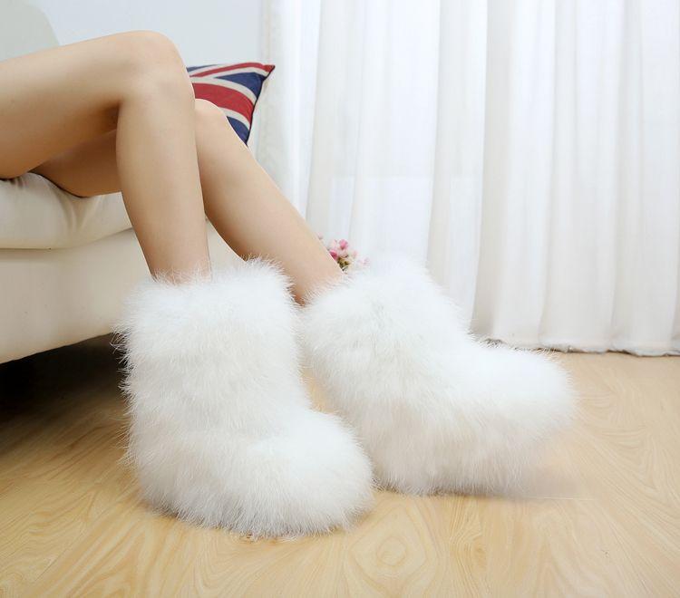 Quente Ostrich Neve Cabelo Botas Mulheres Winter Fur Plush 2019 Shoes Fluffy Moda Ankle Moda Início Furry doce das senhoras Feather Hot