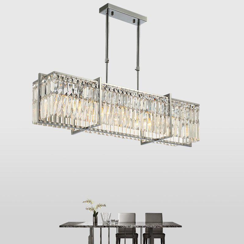 المستطيل ثريات كريستال الثريا الإضاءة الكروم حديثة لغرفة المعيشة المطبخ غرفة الطعام شنقا اعبا اساسيا في الأماكن المغلقة ضوء