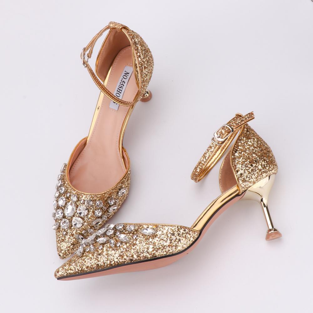 Frau Sandalen Gold-Mode Pailletten Schliesse Armband Bequeme hohe Absätze Kristallbling 10cm 6cm Heel Princess Schuhe Luxuxentwurf CY200518