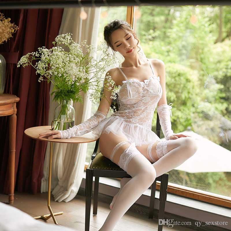 섹시한 여성 블랙 란제리 잠옷 유혹 투명한 슬링 레이스 여성 플러스 사이즈 섹스 속옷 메쉬 활 란제리