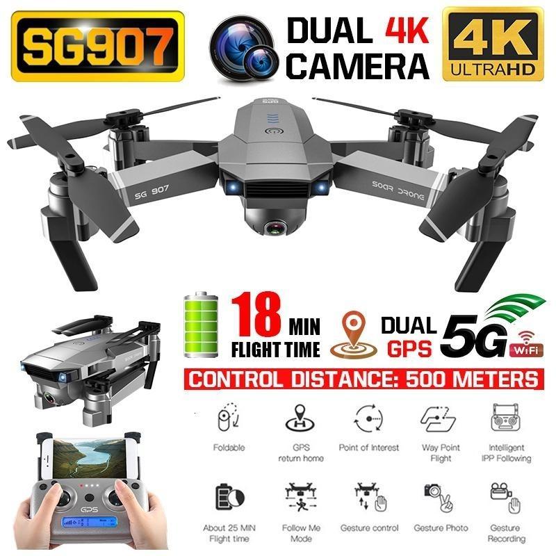 SG907 GPS الطائرة بدون طيار مع 4K 1080P HD كاميرا مزدوجة واي فاي 5G RC كوادكوبتر البصرية تدفق المواقع صغيرة قابلة للطي الطائرة بدون طيار VS E520S E58 T191129