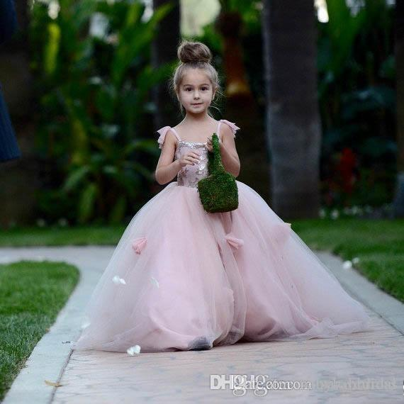 핑크 블러쉬 꽃 소녀 스파게티 스트랩 주니어가 드레스 볼 가운 아이 생일 파티 파티 미인 대회 드레스 들러리 드레스