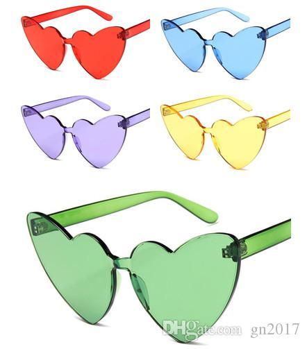 Moda Donna gelatina gli occhiali da sole del cuore di colore Siamese Occhiali da sole Occhiali anti-UV Occhiali oversize degli occhiali Occhiali da sole A ++