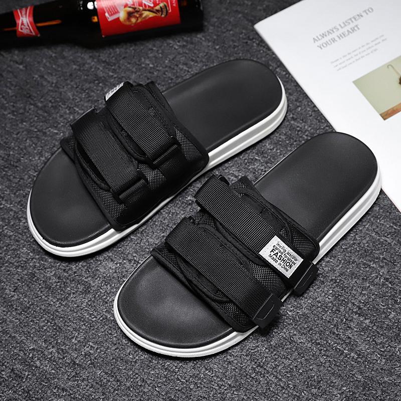 2020 Summer Men Slippers Hook&loop Canvas Casual Lovers Shoes Slip-on Beach Slippers Summer Flip Flops Plus Size 35-46