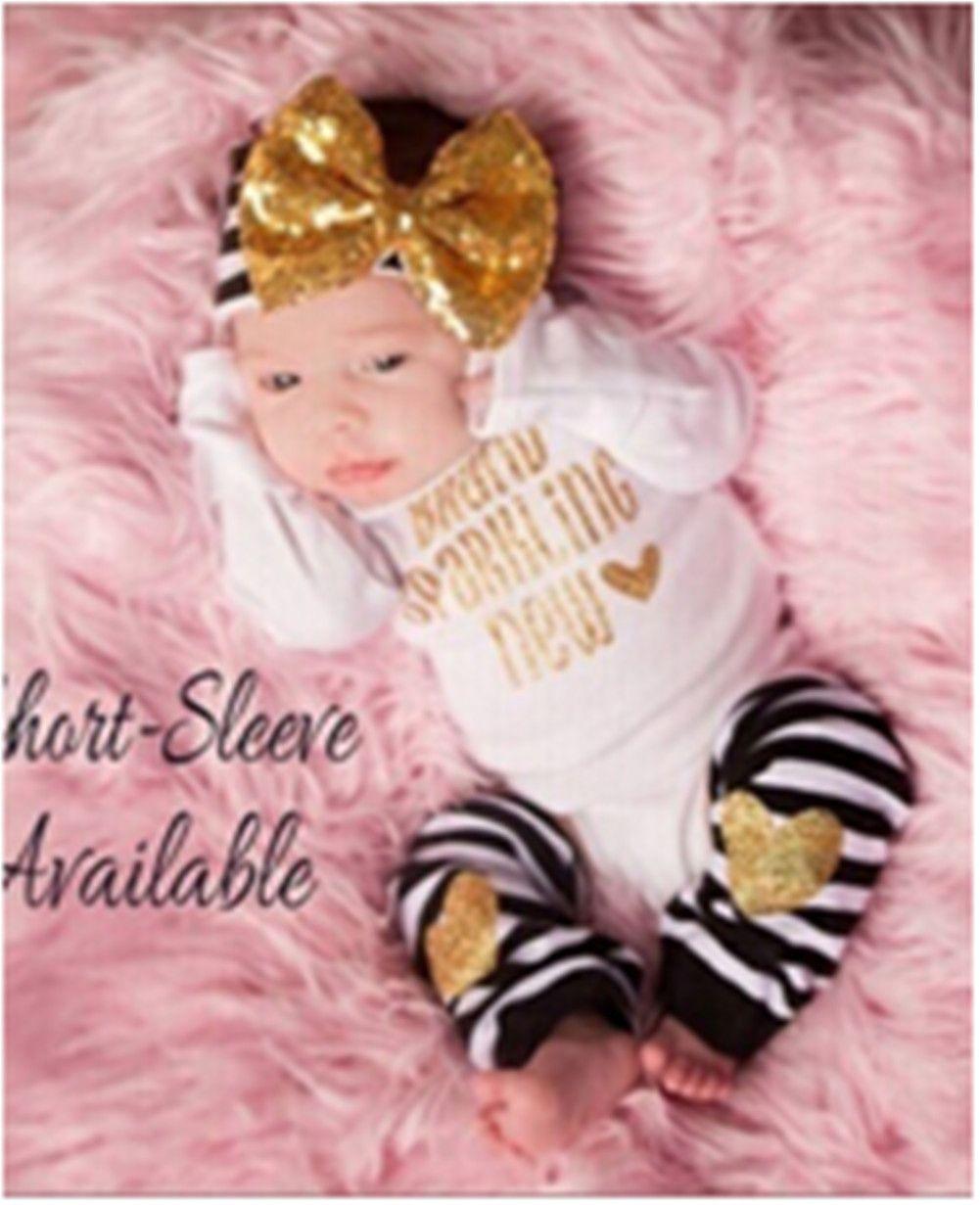 3PCS Outfit Set Newborn Toddler Baby Girl Ropa Romper + Calentadores de piernas + Arco Headb