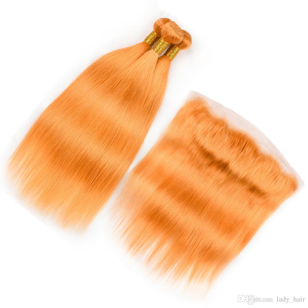 "Cabelo Humano Laranja Lace frontal Encerramento 13x4"" com 3 Pacotes indiana Hetero Pure laranja tecem extensões do cabelo Virgin com Frontal"