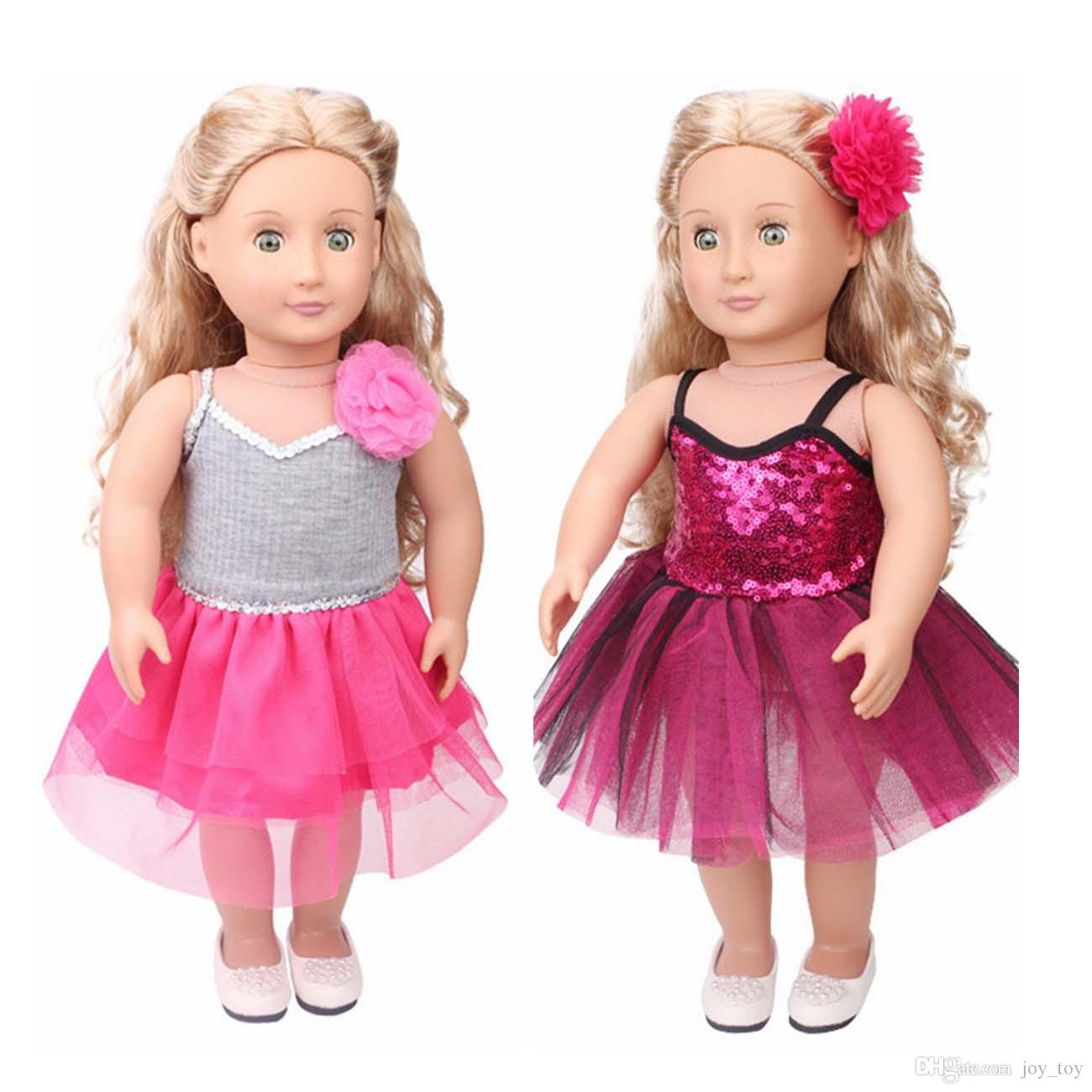 18 inch Doll Skirt One piece Dress Dance Ballet Party Cloth with Flower for American Girl Doll