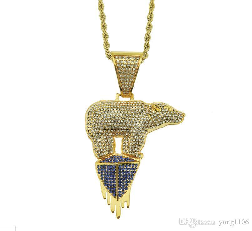 -Venta caliente de lujo del diseñador del hip-hop tema ambiental glaciar personalidad de moda collar del oso polar joyería collar dominante