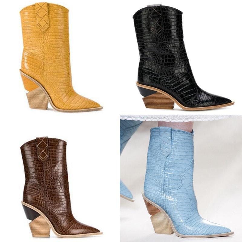 Gelb Krokodil-Prägung Frauen Ankle Boot Lady Geometric Absatz-Pumpen-Fall-Winter-Mode Motorrad Martin Stiefel 12 Farben Botas