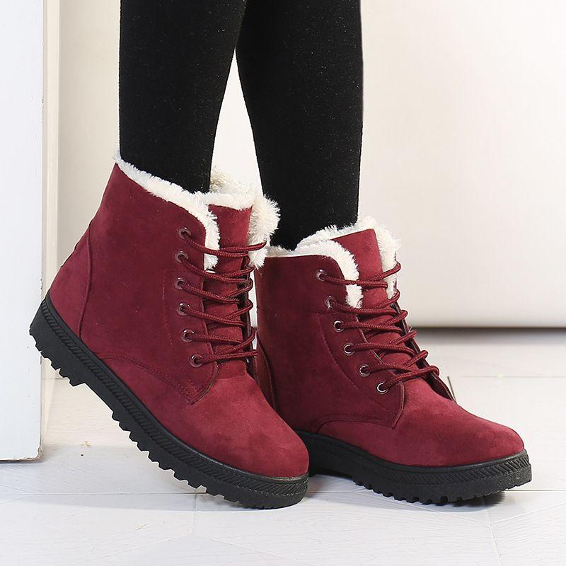 Botas de neve 2018 saltos clássicos mulheres de camurça botas de inverno quente pele de pelúcia Insole ankle boots mulheres sapatos hot lace-up sapatos mulher