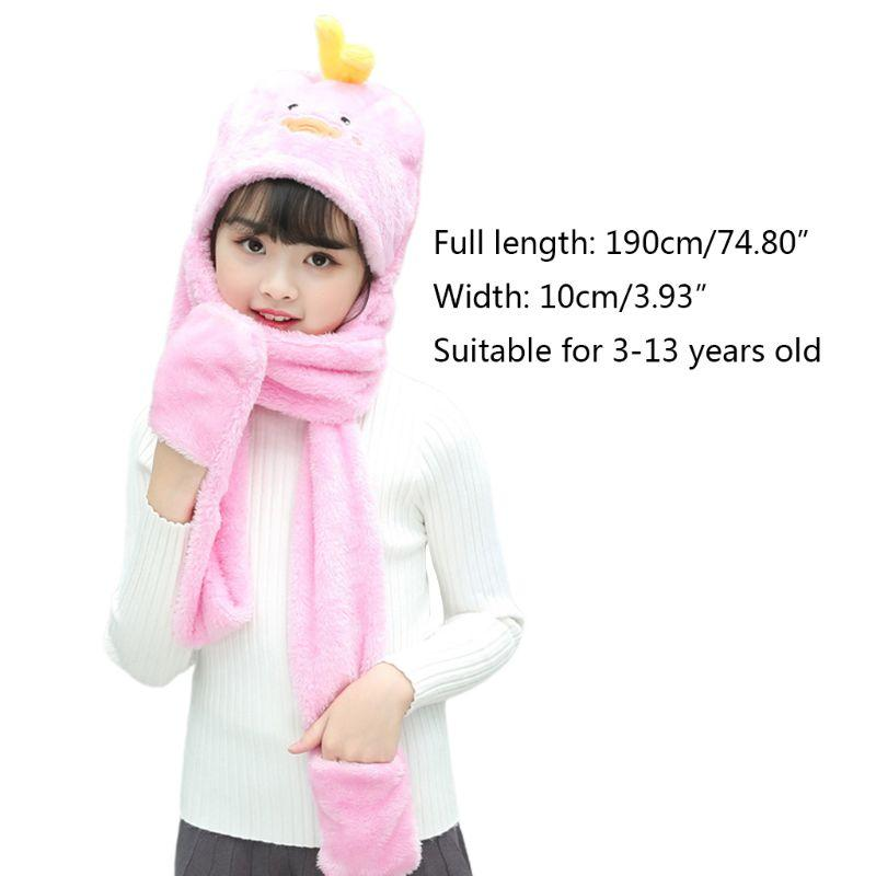 Unisex 3 in 1 Kids Scarf Hat Gloves Thick Plush Animal Pattern Hoodie Earflap 95AB