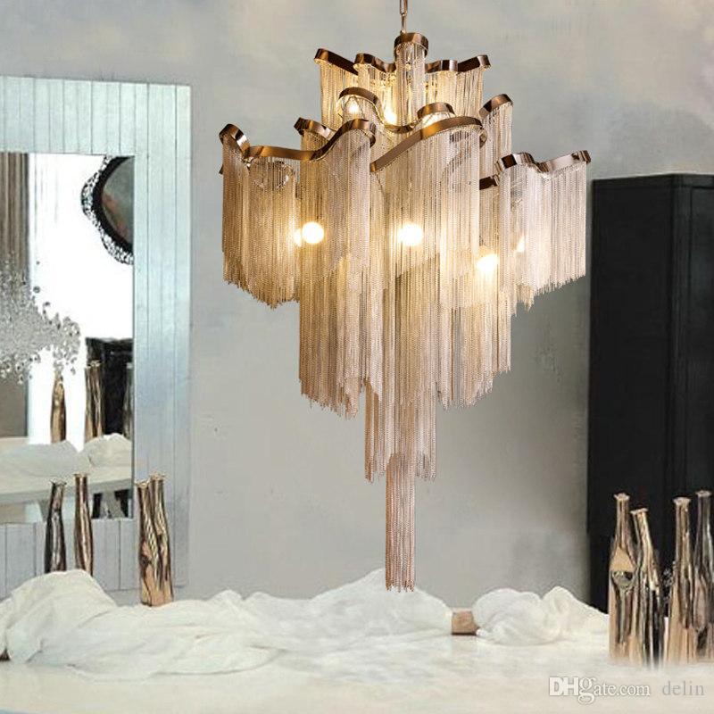 Modern moda Gümüş Altın Alüminyum zinciri Ev Otel Dekorasyon AC 90-260V için Işık Asma Sarkıt Lüks Merdiven Pendant'ı saçaklı