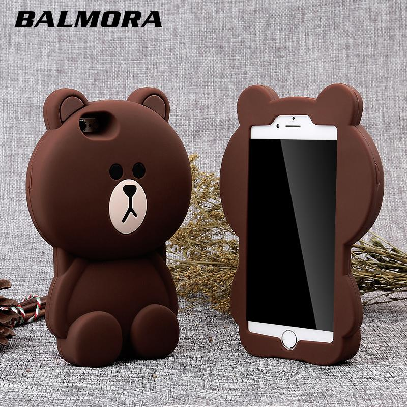 BALMORA 3D Full Protection Cases for iphone X 4 4s 5S Se 5 Cute Bear Soft Silicone Phone Case for iPhone 7 8 6 6S plus Housing
