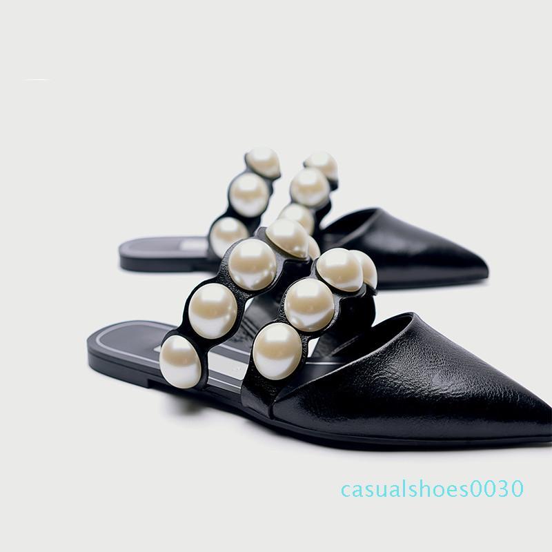 MONMOIRA bout pointu perle Sandales d'été Femmes Chaussons Enfilez Sandales plates Sandalias Mujer Femme 30c Sandale