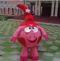 Disfraces Traje de mascota de Smesharik nyusha Traje de cerdo publicitario Traje tamaño adulto Traje de mascota de Smesharik nyusha