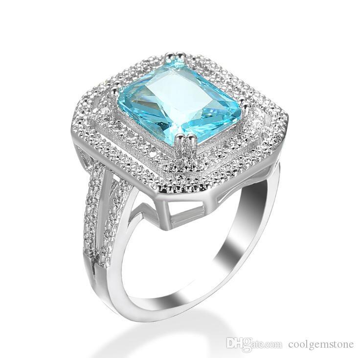 LuckyShine Mode übersichtliches Design riesiger Platz Blue Zircon Ringe für Frauen Trauringe Verlobungsringe freien Verschiffen 6 PCS