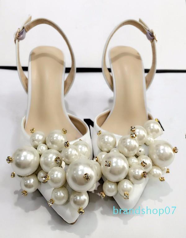 Hot Sale-LTTL Perle exquis chaussures de mariage blanc satin High Heels Pompes tout match Femmes Banquet Robe de soirée talon haut Chaussures Socialite