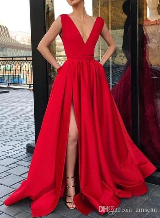 ملابس حفلة راقصة حمراء أنيقة 2019 A-Line Deep V-Neck High Slave Special Occasion Selaps Plus Satin Celebrity Evening Gowns