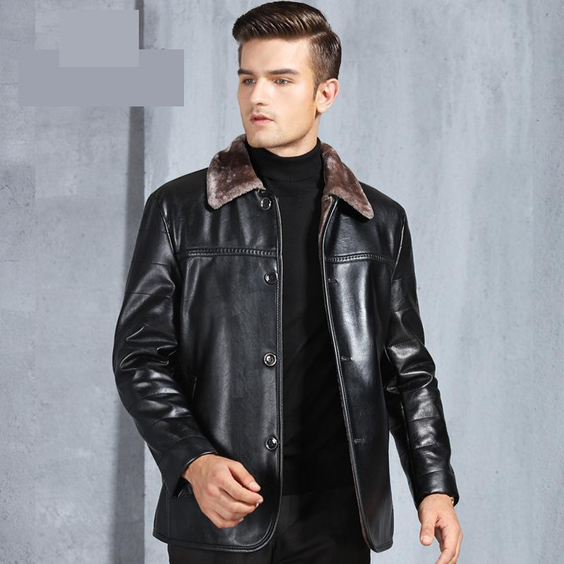 new Men Imitation Leather Jacket Autumn Winter velvet Coat Casual Turn-down Collar Single Breasted Thick plus size M-4XL
