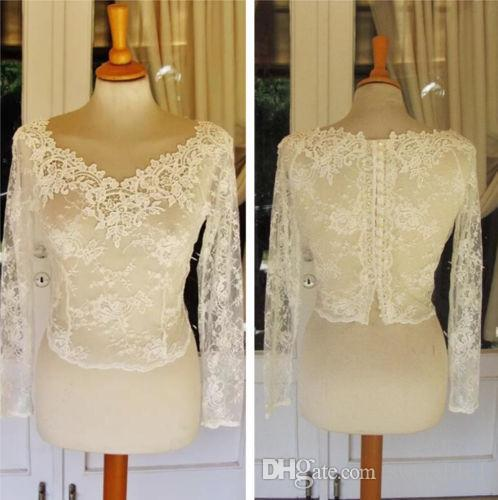 2019 Bridal baratos Wraps Modest Lace Crew Neck Bainha casamento Bolero nupcial para vestidos de casamento Long Sleeve Lace Applique Jacket