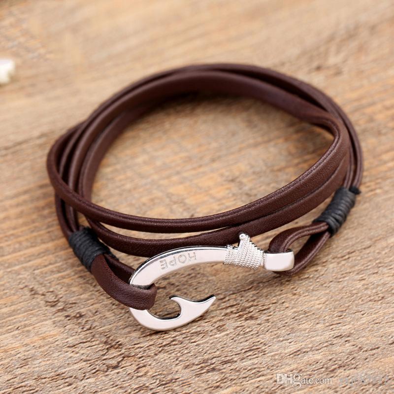 Corea versión de la popular BFF2 lazo de la cuerda de cuero marrón pulsera de plata antigua línea de aleación de pulsera brazalete de anclaje anzuelo carácter co