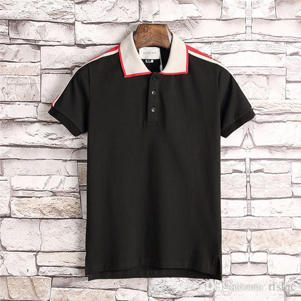 2010 Spring Luxury Italian T-shirt Designer Polo Shirt High Street Embroidered Garter Brand T-shirt Printing Black White Clothing Men's Bran