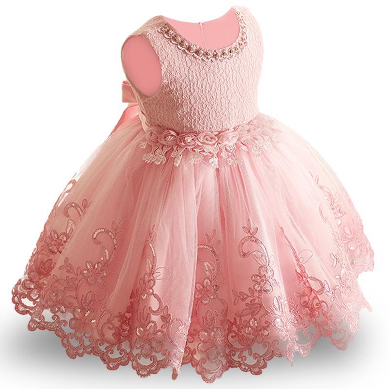 Цветок малыши Baby Girl младенческого платья принцессы Девочка свадебное платье кружево Пачка Kids Party Vestidos для 1-го дня рождения Y18102007