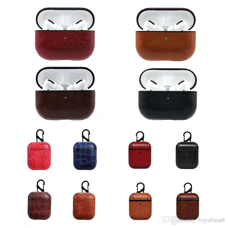 Leather Case For AirPods Pro Anti-fall PU Protective Cover For Airpods 1/2/3 Charging Box with Hook Free Shipping