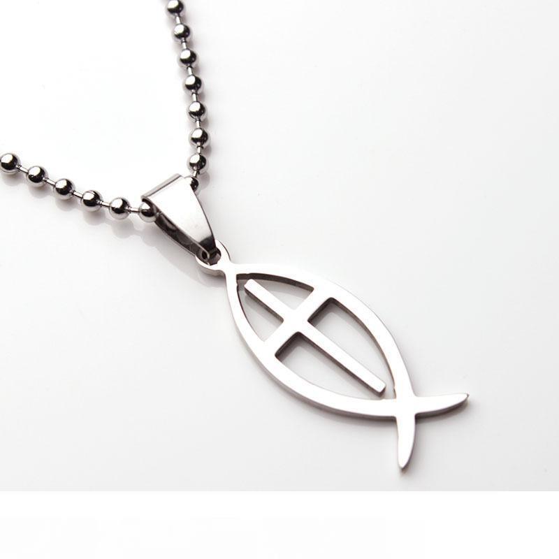 Collana della traversa dell'acciaio inossidabile Jesus Fish Chiesa cattolica cristiana della collana di gioielli pesce simbolo Statement