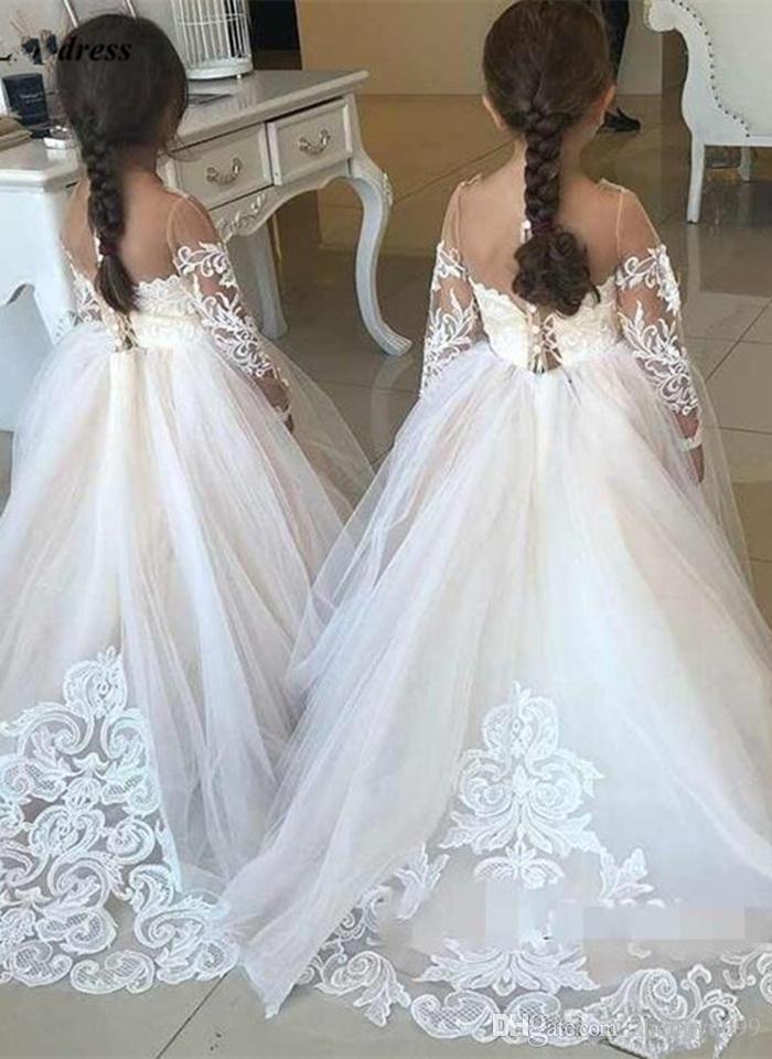 Tamaño chicas del desfile de vestidos de manga larga del niño partido brillante brillante de los vestidos de noche de los niños vestidos de baile personalizada