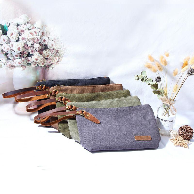 Мода Solid Color Кошелек для макияжа Холст Cosmetic Bag туалетных Чехол Путешествия Портативная сумка для макияжа