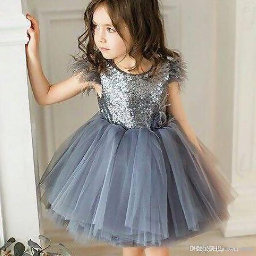 Silver Flower Girls Dress Pageant Wedding Baby Party Birthday Christmas Formal